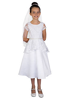 Us Angels Lace And Satin Cap Sleeve A-Line Bodice And Peplum Communion Dress With Beaded Waist - Girls Plus