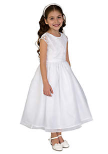 Satin, Lace, And Organza Cap Sleeve Communion Dress With Lace Mock Bolero And Full Skirt- Girls 7-16
