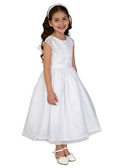 Us Angels Satin, Lace, And Organza Cap Sleeve Communion Dress With Lace Mock Bolero And Full Skirt- Girls 7-16