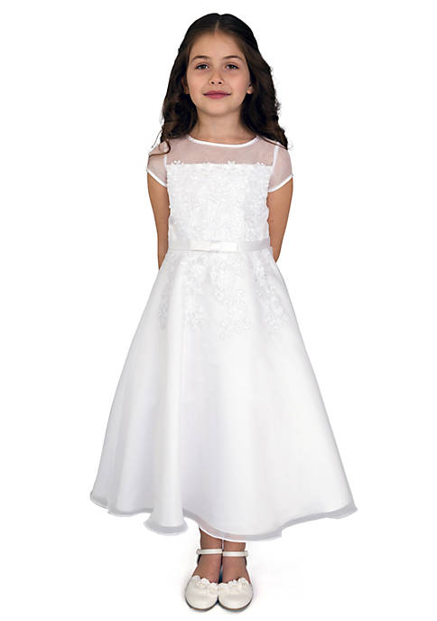 Organza Short Sleeve A-Line Communion Dress With Embroidered Fit Bodice And Embroidered Applique Full Skirt- Girls Plus