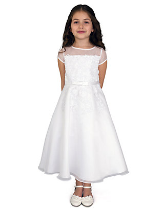 ebcefb4b9a Us Angels. Us Angels Organza Short Sleeve A-Line Communion Dress With  Embroidered Fit Bodice And Embroidered Applique Full Skirt- Girls Plus