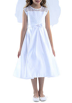 Us Angels Sleeveless Illusion Neck & Box Pleat Skirt Organza Dress Girls 7-16 Plus