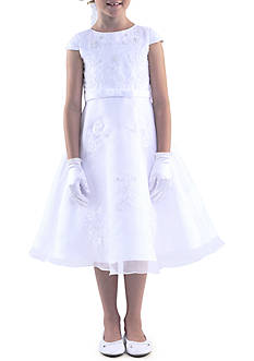Us Angels Cap Sleeve Princess Bodice with Embroidered Applique Satin Dress Girls 7-16 Plus