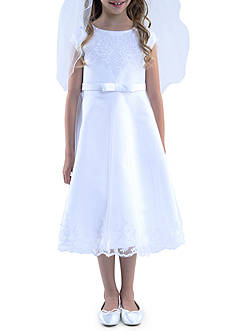 Us Angels Cap Sleeve with Embroidered Applique Detail Satin Dress Girls 7-16 Plus