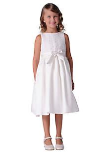 Flower Girl Lace Overlay Satin Dress- Girls 4-6x