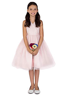 Flower Girl Satin And Point D'Esprit Ballerina Length Dress With Sleeveless Pleated Bodice And Full Skirt- Girls 7-16