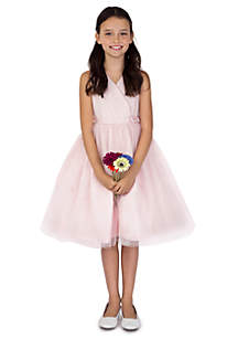 Flower Girl Satin And Point D'Esprit Ballerina Length Dress With Sleeveless Pleated Bodice & Full Skirt- Girls 4-6x