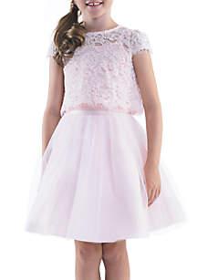 Lace Pop-Over Bolero Tank & with Tulle Overlay Full Skirt Set Girls 7-16