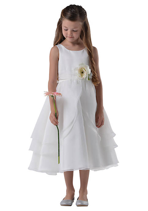 adb1fe76ae Us Angels Flower Girl Satin And Tulle Layer Organza Tank Dress ...
