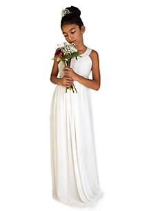 Flower Girl Crinkle Chiffon Sleeveless Ringer Empire Floor Length Dress With Beaded Waist- Girls 7-16