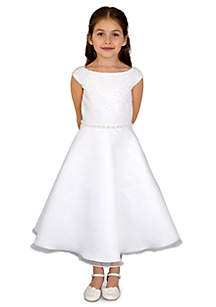 Lace And Organza Cap Sleeve Lace Bodice A-Line Communion Dress With Beaded Waist- Girls 7-16