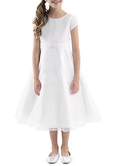 Us Angels Pleated Cap Sleeve and Bodice with Organza Overlay Skirt Dress Girls 7-16 Plus