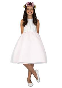Flower Girl Satin And Organza Sleeveless Pleat Waist With Full Skirt- Girls 7-16