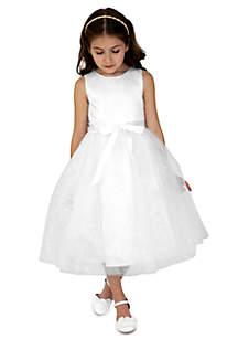 Flower Girl Satin And Sequin Netting Sleeveless Tank With Full Skirt- Girls 4-6x