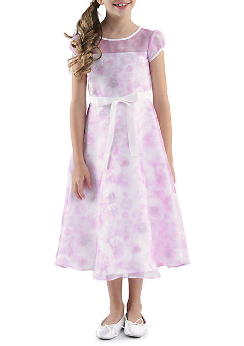 Us Angels Cap Sleeve Illusion Neck Printed Organza