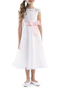 Us Angels Cap Sleeve lace Bodice A-Line Bow Front Dress Girls 4-6X