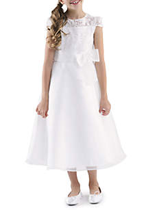 Cap Sleeve lace Bodice A-Line Bow Front Dress Girls 4-6X