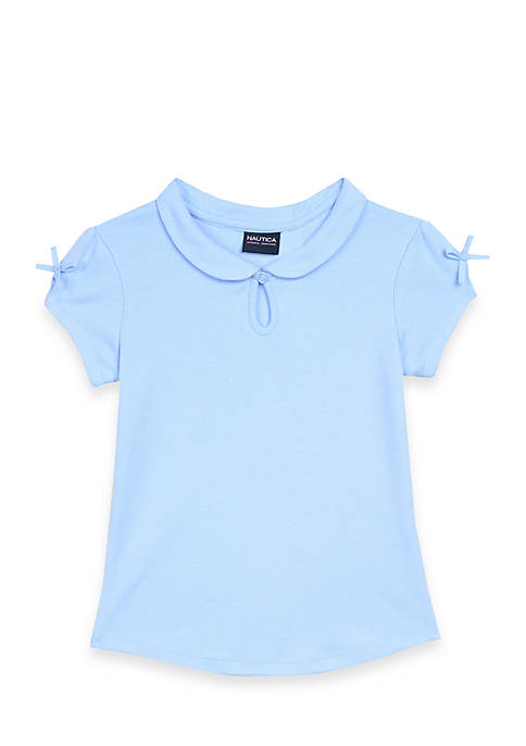 Nautica Girls 4-6x Peter Pan Keyhole Polo