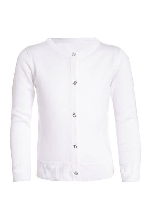 Girls 7-16 Rhinestone Buttons Sweater