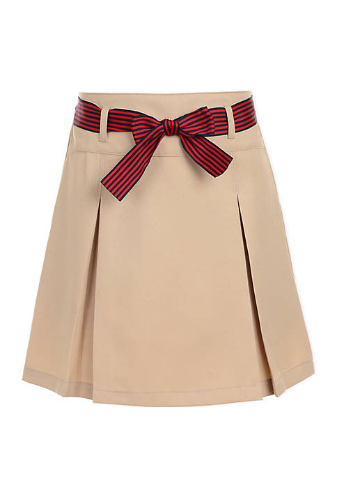 Nautica Girls 7-16 Pleated Scooter Skort with Bow