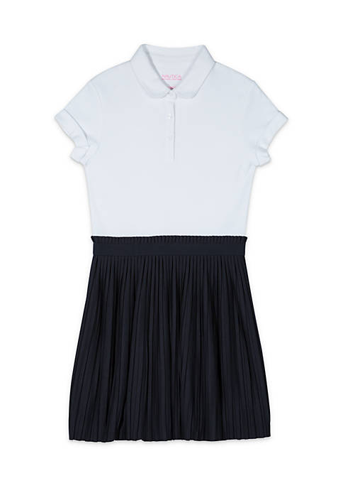 Nautica Girls 4-6x Peter Pan Collar Pleated Skirt