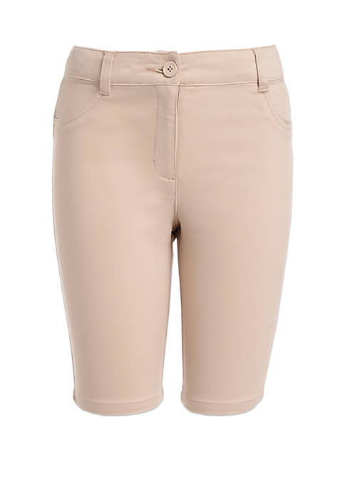 Girls 7-16 Stretchy 5 Pocket Sateen Shorts
