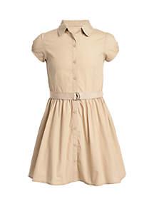 Nautica Girls 7-16 Short Sleeve Poplin Dress