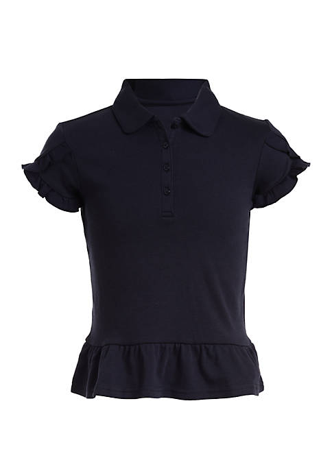 Nautica Girls 4-6x Interlock Polo with Tulip Sleeves