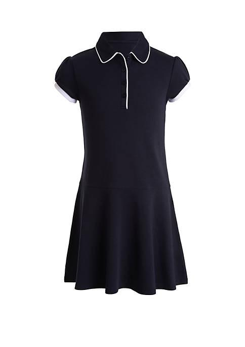 Girls 7-16 Interlock Dress with Trim