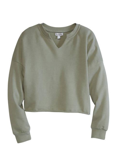 Girls 7-16 Long Sleeve Notched Sweatshirt