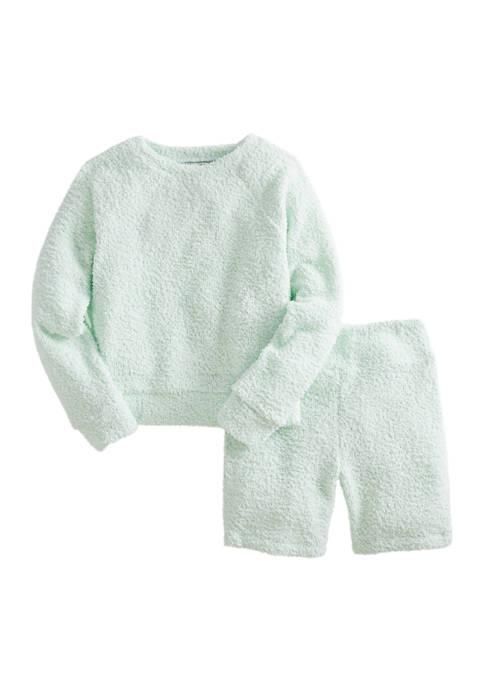 Girls 7-16 Long Sleeve Knit Sweater and Bike Shorts 2 Piece Set
