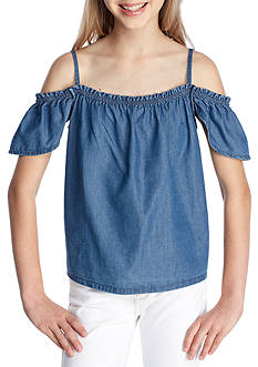 love, Fire Chambray Flutter Sleeve Top Girls 7-16