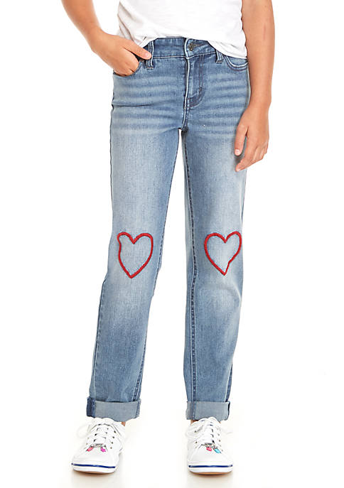 Celebrity Pink Girls 7-16 Heart Embroidered Cuffed Skinny