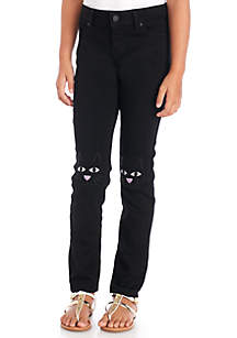Girls 7-16 Black Cat Embroidered Skinny Jeans