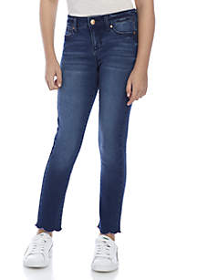 Girls 7-16 Scallop Hem Denim Jeans