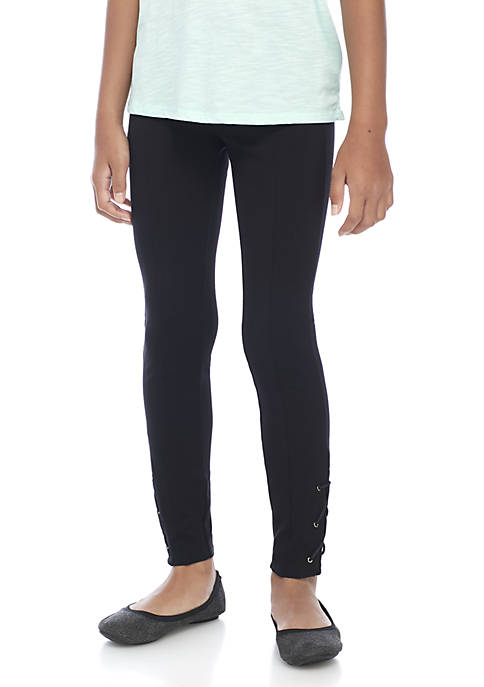 Girls 7-16 Ankle Lace Up Ponte Pants