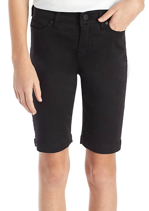 Celebrity Pink Solid Twill Bermuda Shorts Girls 7-16