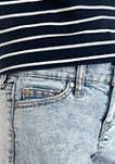 Girls 7-16 Acid Wash 3 Inch 5 Pocket Cuffed Denim Shorts