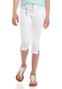 Celebrity Pink Girls 7-16 White 15 in Cropped Jeans with Side Slit Detail