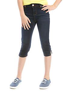 Celebrity Pink Girls 7-16 Dark Wash Crop Side Slit Jeans