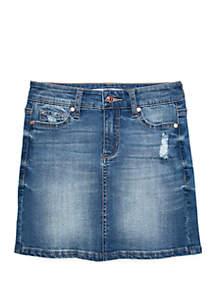 Celebrity Pink Girls 7-16 5 Pocket Destructed Denim Skirt