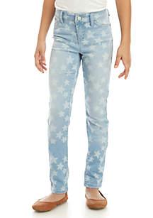 Girls 7-16 Allover Stars Skinny Jeans