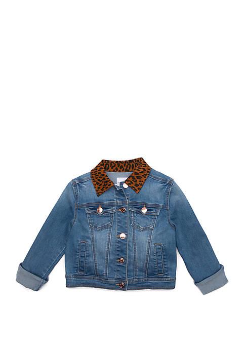 Girls 7-16 Cheetah Collar Denim Jacket