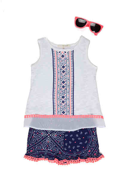 Self Esteem 2-Piece Sweater Tank Top and Printed Shorts Set Girls 4-6x ...