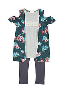 Toddler Girls Sweater Knit Cozy Denim Leggings Set