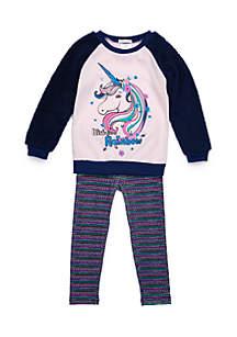 Toddler Girls Unicorn Woobie Sleeve Set