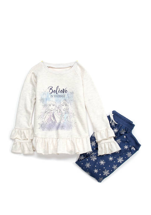 Girls 4-10 Heathered French Terry Frozen Set