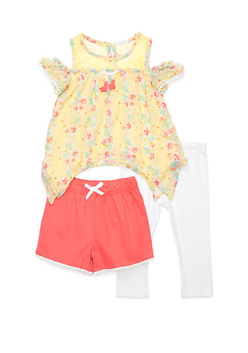 Girls 4-6x 3 Piece Cold Shoulder Chiffon Pom Pom Short and Capri Set