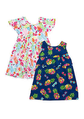 03a10263e4a Forever Me Girls 4-6x Yummy Floral and Flamingo Pineapple Dress Set ...