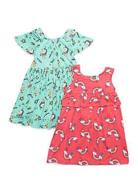 d4e4ddd5d Forever Me Girls 4-6x Yummy Unicorn and Rainbow Dress Set ...